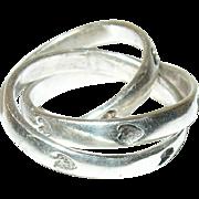 Vintage Ring Sterling 3 Interlocking Bands