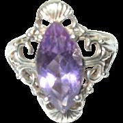 Vintage Ring Sterling Lg Amethyst