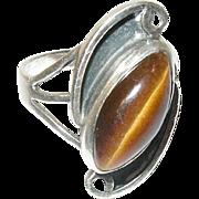 Vintage Ring Sterling Tiger's Eye Modernist Design