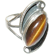Vintage Ring Sterling Tiger's Eye Modernist Design