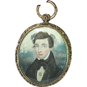 Georgian 14K Pendant Miniature Portrait 1820's