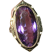 Victorian 14K Large Amethyst Ring Enamel Taille D'Epergne Work