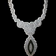 Vintage Sterling Marcasite Necklace Drop Pendant