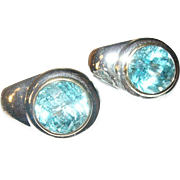 Vintage Earrings Sterling Lg Blue Topaz Modernist