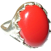 Vintage Ring Sterling Cabochon Red Stone
