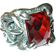 Vintage Ring Sterling Faux Ruby