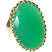 Vintage Ring Sterling Vermeil Lg Green Stone