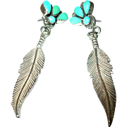 Vintage Drop Earrings Sterling Turquoise