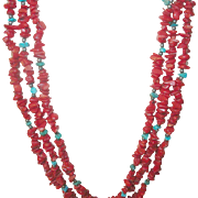Vintage Necklace 3 Strand Coral Turquoise