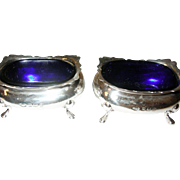 Vintage Pair of Salts Sterling Cobalt Blue Liners.