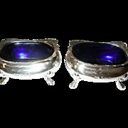 Vintage Pair of Salts Sterling Cobalt Blue Liners.