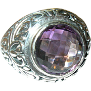 Vintage Ring Sterling Lg Amethyst 4ct.