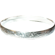 Vintage Sterling Bangle Chased Design