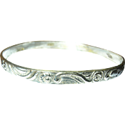 Vintage Bangle Sterling Chased Design