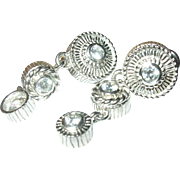 Vintage Drop Earrings Sterling Faux Diamonds