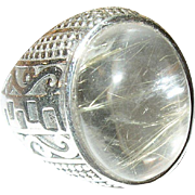 Vintage Ring Sterling Cabochon Rock Crystal