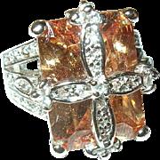 Vintage Ring Sterling Faux Stones Modernist Design