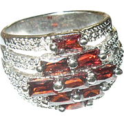 Vintage Ring Sterling Faux Garnet Modernist Design