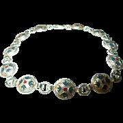 Vintage Link Bracelet Sterling enamel