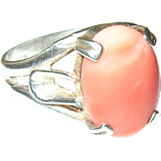 Vintage Ring Sterling Cabochon Coral