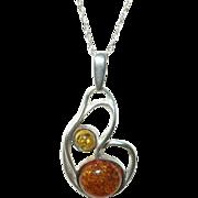 Vintage Amber Pendant Necklace Modernist