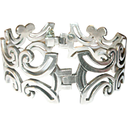 Vintage Sterling Link Bracelet Modernist Design