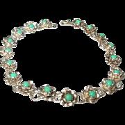 Vintage Link Bracelet Sterling Turquoise