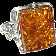 Vintage Ring Sterling Amber