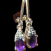Vintage Earrings Sterling Vermeil Drop Amethysts