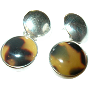 Vintage Earrings Sterling Glass Faux Tortoise Hallmarked
