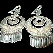 Vintage Earrings Sterling Filigree Drops