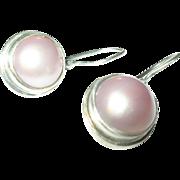 Vintage Earrings Sterling Mobe Pearls Fresh Water Cultured