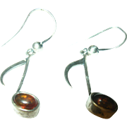 Vintage Earrings Music Notes Amber