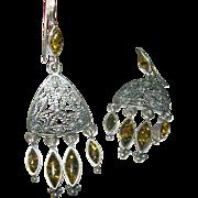 Vintage Earrings Chandelier Earrings Sterling Amber