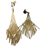 Vintage Earrings Sterling Vermeil Lg Chandelier