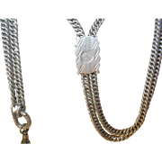 "Victorian Coin Silver (835) Watch Chain Slide 57"""