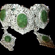 Vintage Bracelet Earrings Set Sterling by Van Dell