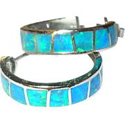 Vintage Earrings Hoops Sterling Doublet Opals