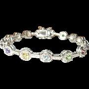 Vintage Link Bracelet Sterling Semi Precious Stones