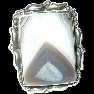 Vintage Ring Sterling Agate