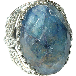 Vintage Ring Sterling Faceted Cabochon Stone