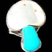 Vintage Ring Sterling Mushroom Design