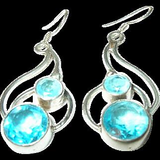 Vintage Drop Earrings Sterling Faux Aquamarines