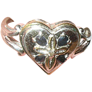 Vintage Sterling Ring Heart Shaped Sapphires