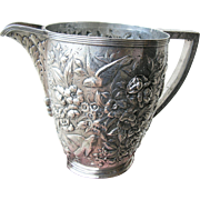 S. Kirk Son 19th Century 900 Coin Silver Pitcher Repousse