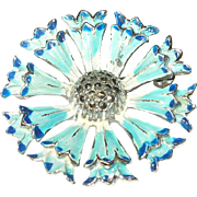 Vintage Brooch Sterling Enamel Flower