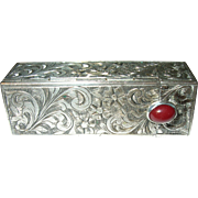 Vintage 800 Coin Silver Lipstick Case Chased Design