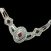 Vintage Sterling Pendant Marcasite Garnet