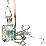 Vintage Sterling Necklace Pendant Blue Topaz