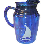 Depression Glass Cobalt Blue Pitcher Sailboat